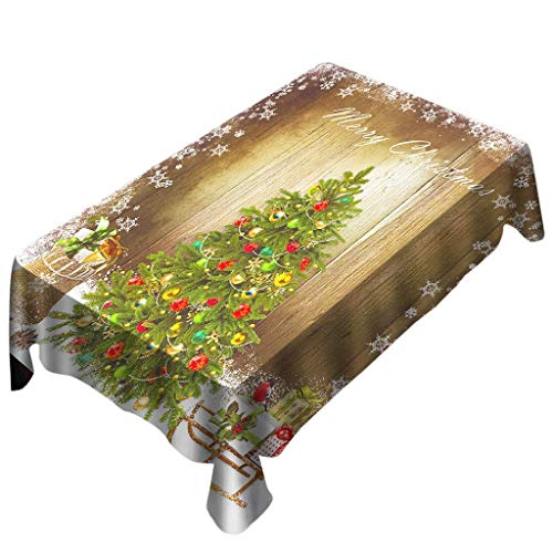 MEIDI Home AmaSells Nappe De Noël Imprimé Rectangle Table Couverture Fête Décoration De Maison, Arbre De Noël Ornement Flocon De Neige Motif Nappe, Décor De Table De Noël (Multicolore D)