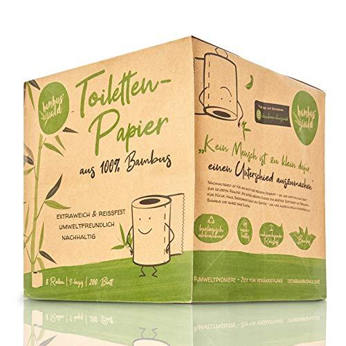 bambuswald© nachhaltiges Toilettenpapier aus 100% Bambus | 8x Rollen á 200 Blatt - 3 lagig sanft trocken & angenehm weich | holzfreies Klopapier in plastikfreier Verpackung | WC-Papier Toilet Paper - 4