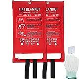 HENGGE Manta De Fuego De Fibra De Vidrio, para Emergencia Surival, para Cocina, Automóvil, Protección contra La Llama De Oficina Y Manta De Emergencia De Aislamiento De Calor,2PACK