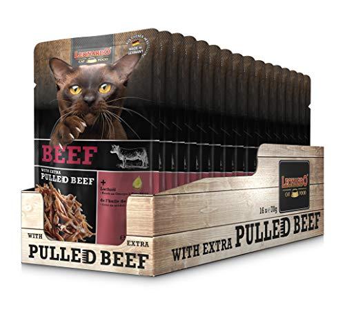 Leonardo Frischebeutel Beef mit Fleischstreifen [Pulled Beef] 70g | Getreidefreies Nassfutter für Katzen | Alleinfuttermittel Katzenfutter