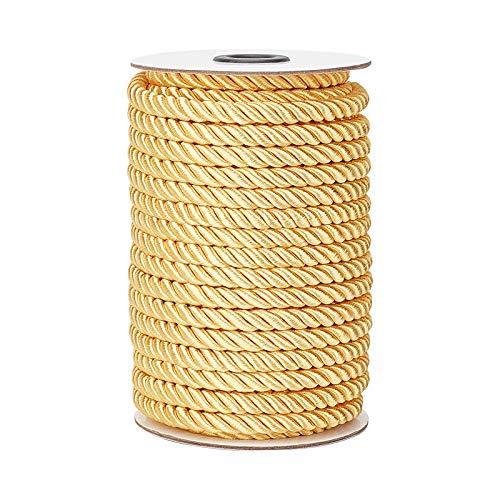 PandaHall Cuerda decorativa dorada de 8 mm, 20 yardas, para cortina, tapicería, cordón de honor, guirnalda de Navidad, asas de bolsos