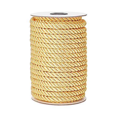 PandaHall 8mm 20 Yards Twisted Cord Trim Gold Decorative Rope for Curtain Tieback, Upholstery, Honor Cord, Christmas Garland, Handbags Handles