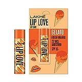 Lakmé Lip Love Gelato Chapstick, Fresh Orange, Moisturizing Tinted Lip Balm With Spf 15, 4.5 g