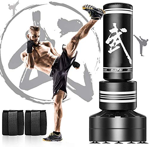 GIKPAL Boxsack Erwachsene, 170cm Freistehender Standboxsack Trainingsgeräte Box Trainer mit 12 Saugfuß, Heavy Duty MMA Boxpartner Standboxsäcke für Kinder Jugentliche Training