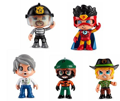 Pinypon Action- Pack de 5 Figuras, Policía, Superhéroe, Científico, Ladrón y Aventurero, Multicolor (Famosa 700014490)