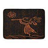 MARIODP Alfombrilla De Baño Antideslizante para Puerta Flauta Kokopelli y Sol Dios étnico es símbolo de fertilidad Anasazi Player 15.8'x23.6'