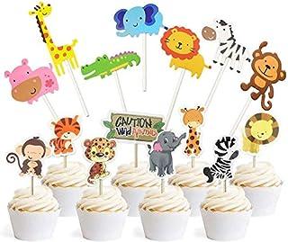Jungle Safari Animal Cupcake Toppers Picks - 62pcs Animal Theme Party Decorations Zoo Animals Cake Decorations Food Picks ...
