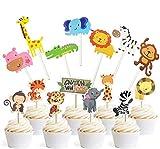 Jungle Safari Animal Cupcake Toppers Picks - 62pcs Animal Theme Party Decorations Zoo Animals Cake Decorations Animal Theme Party Supplies for Kids Birthday Baby Shower Animal Theme Party Decorations
