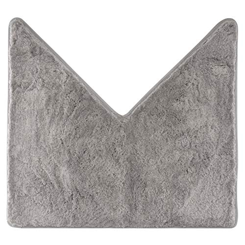 Alfombra de baño para ducha de esquina, pelo largo, de microfibra, base antideslizante (gris)