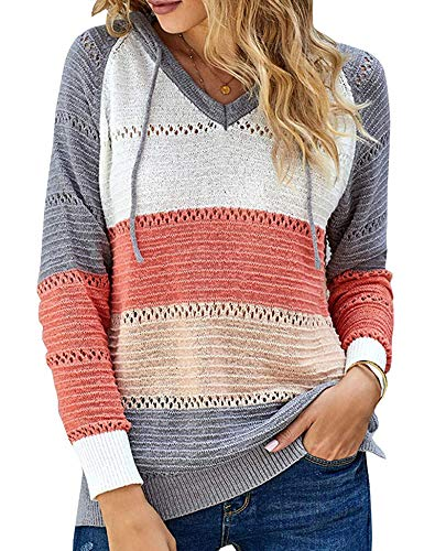 Women's Winter Lightweight Hoodid Color Block Warm Pullover Sweatshirts Fashion Knitted Tops Ladies Clothes