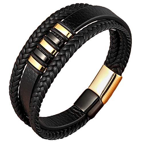 Fransande Pulsera de cuerda de cuero de acero de cuero tejido pulsera de cuero multicapa joyería de los hombres joyería simple 18,5 cm