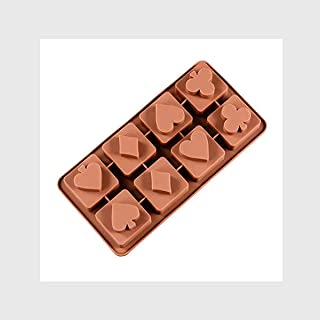 JoyGlobal 8-Cavity Poker Play Card Shape Silicone Diwali Chocolate Mould (Chocolate Weight : 25 Grams Approx)