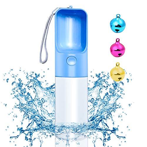 Hundetrinkflasche - Trinkflasche Hunde für Unterwegs, 450ml Wasserflasche Hund mit 3 Stück Glocken, BPA Frei Haustier Trinkflasche, Hunde Katzen Flasche für Reise und Wandern (Blau)