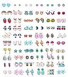 Lot de 60 paires de boucles d'oreilles à tige en acier inoxydable pour filles et femmes mignons avec plusieurs animaux et fleurs de fruits mignons pour adolescentes et filles