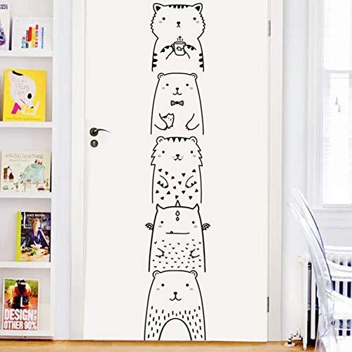 ZYBKOG Wandaufkleber Nette Kleine Tier-Kätzchen-Bärn-Karikatur-Wand-Aufkleber-Ausgangswohnzimmer-Wand-Dekorations-Tür-Aufkleber-Kühlschra