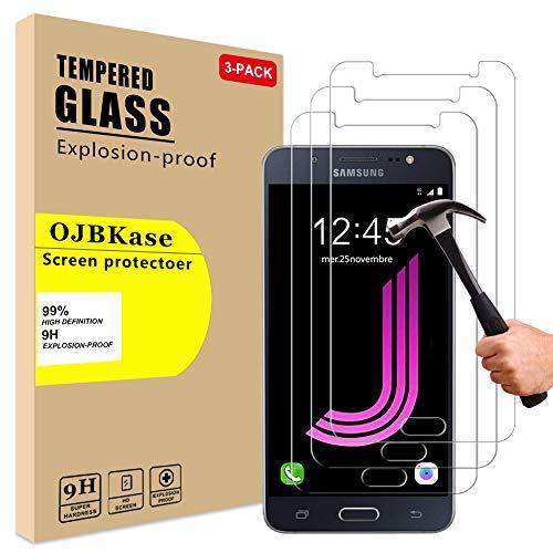 OJBKase [3 Stück Samsung Galaxy J7 2016, Schutzfolie Panzerglas Panzerglasfolie Displayschutzfolie, 2.5D 9H Härte und Hohe-Auflösung, Anti-Kratzen, Anti-Öl, Anti-Bläschen