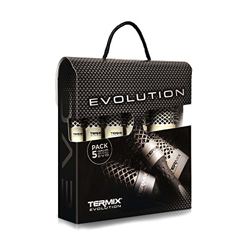 Termix Evolution Soft - Pack di 5 pennelli termici per capelli tondi con fibra ionizzata ad alte prestazioni, appositamente progettati per capelli delicati. Comprende i diametri 17, 23, 28, 32 e 43.