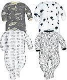 Photo de Sibinulo Garçons Filles Pyjama Bébé Grenouillere ABS Lot de 4 Cosmos éléphants Gris Ballons et éléphants Noirs 86(12-18 Mois) par