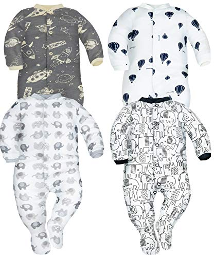 Sibinulo Nino Nina Pijama Bebé Pelele de ABS Pack de 4 Cosmos Elefantes Grises Globos y Elefantes Negros 80(9-12 Meses)