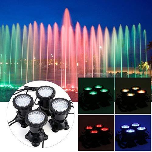 OUKANING 4xLED Unterwasserbeleuchtung 12V Poolbeleuchtung Brunnen Lampe für Garten Unterwasser Verfärbung Licht RGB-Steuerung Im Freien Projektionslicht Brunnen Tank Aquarium