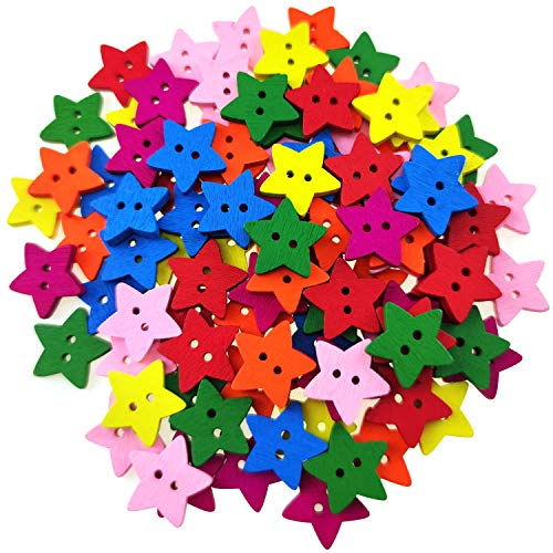 100 Pcs Colorful Wooden Star Buttons with 2 Holes Rustic Buttons for Clothes Sewing Scrapbooking Art Crafting DIY Decoration