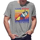 GameStop To The Moon Game Vintage Camiseta de Hombre Gris Size M