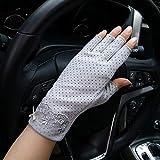 Guanti da donna senza dita, traspiranti, in rete, protezione UV, guanti da guida, in silicone, leggeri, da viaggio, fitness (grigio)