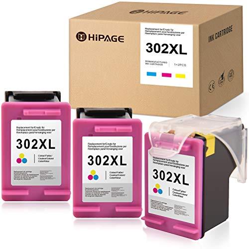 HIPAGE 302XL Compatible para HP 302XL 302 XL Cartuchos de Impresora para HP Envy 4510 4512 4516 4520 4521 4522 HP Officejet 3831 3832 3833 3834 3835 4650 4652 4654 (3 Colores)