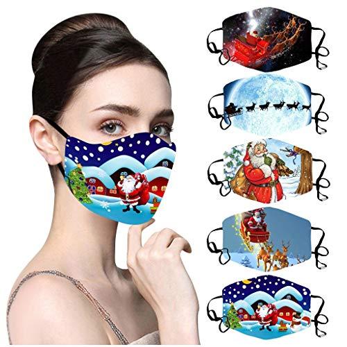 NN/A 5 Stücke Lustig Mund und Nasenschutz Weihnachten mit Motive Erwachsene Waschbar Atmungsaktiv Mundschutz Waschbar und Wiederverwendbar