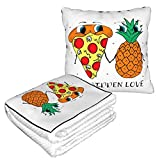 Couverture de voyage 2 en 1 avec logo « I Love Pineapple Belong to Pizza » - Qualité supérieure - Doux et chaud - En forme d'avion