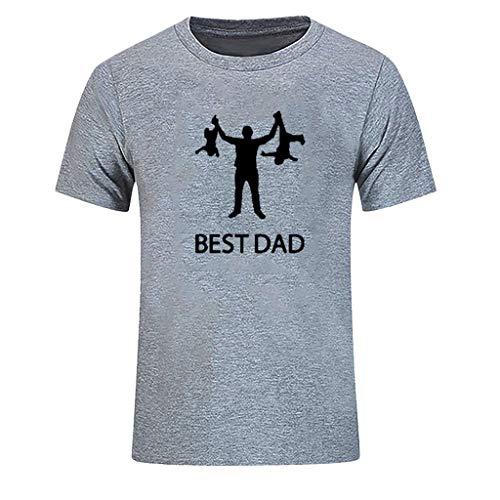 Yowablo Herren T-Shirts mit Rundhalsausschnitt Vatertag O Hals Kurzarm Print Tops Bluse (XL,1Grau)