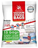 Bolsas de almacenamiento al vacío – Paquete de 15 reutilizables con bomba de mano para embalaje de viaje | las mejores bolsas de sellado para ropa, edredones
