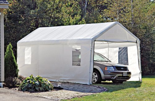 ShelterLogic Portable Garage Canopy Carport, 10' x 20', White