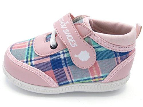 Chou Chou Shou Shoes – Zapatillas deportivas y vintage – Zapatos para bebé niña N° 1 – Marca francesa – Tartan Edition, Rosa (rosa claro), 22 EU Large
