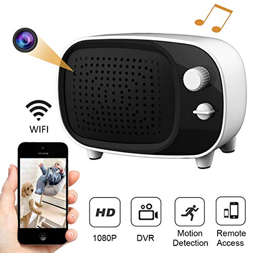 Wireless Hidden Camera Bluetooth Speaker WiFi Spy Camera, AMZCEV 1080P Security Cam Baby Monitor with Motion Detection Alarm and Night Vision, Real Time View/Monitoring/Recording Via Mobile Phone App