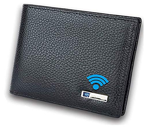 Smart LB Smart Anti-Lost Wallet with Alarm, Bluetooth, Position Record (via Phone GPS), Bifold Cowhide Leather Purse (Black,Horizontal)