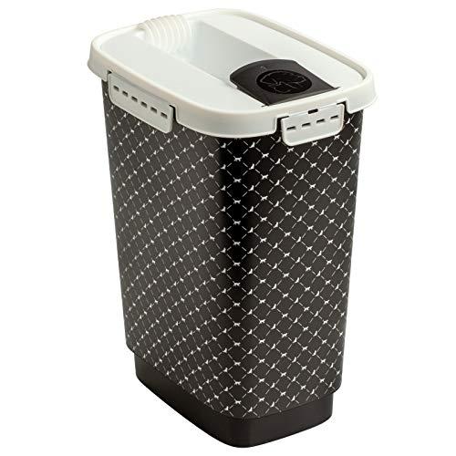 Rotho Flo Tierfutterbehälter Deckel, lebensmittelechter Kunststoff (PP) BPA-frei, schwarz, 4.1l, 4,1l (19,5 x 13,6 x 27 cm)