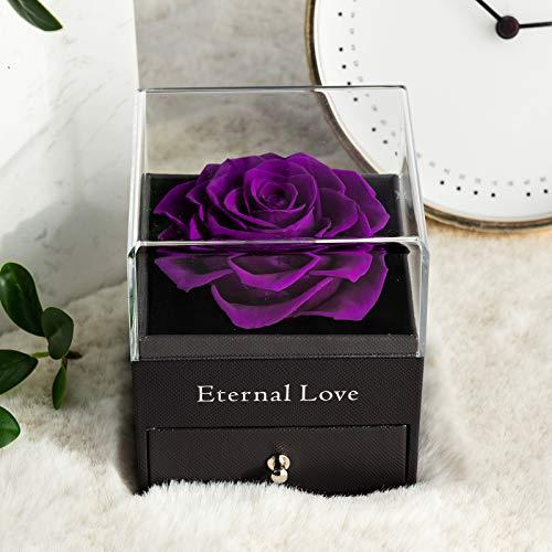 Rosa Real preservada con Collar I Love You Caja de Regalo, Rosa eterna para el día de San Valentín, día de la Madre, Aniversario de Bodas, Regalo de cumpleaños para Ella-Púrpura