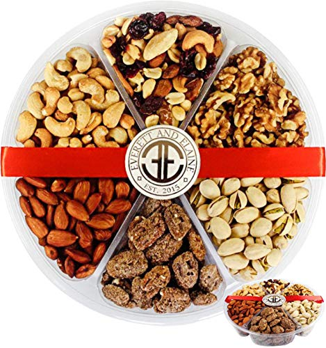 Everett and Elaine - Gourmet Holiday Nuts Gift Basket - 6 Assorted Varieties of Roasted and Candied Nut Tray - Food Gift Basket - 28.5oz