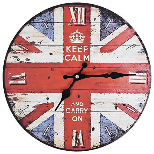 vidaXL Reloj de Pared de Estilo Vintage Retro Redondo Londres Bandera Inglesa UK