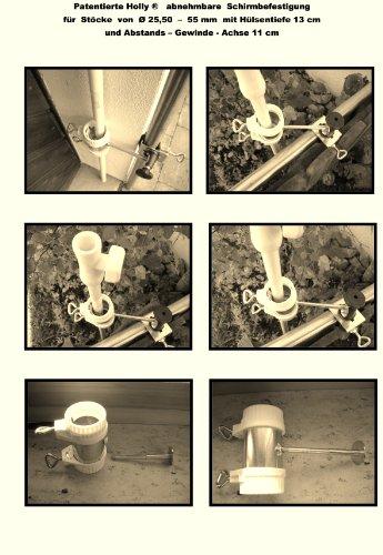 360 ° Housse amovible balcon parapluies breveté – Support pour bâtons jusqu'à Ø 25,50 mm par Holly Stabielo avec 13 cm 15,24 x Douille et 11 cm longue distance de Axe pour fixation avec 5 – pour filetage réglable multi – Le support 360 ° avec capuchons en caoutchouc pour fixer de fixations sur ou eckigen Éléments de 25 à 55 mm Ronds – Fabriqué en Allemagne