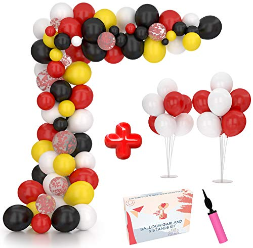 Balloon Arch Kit & Balloon Garland Kit 16Ft with 2 Extra Balloon Stand   Video & eBook Instructions   Mickey Mouse 127 Red Black Yellow White Confetti Balloons   Ideal for Kids Birthday Party Events