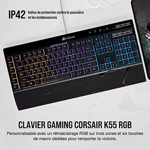Corsair K55 Clavier Gaming (Rétro-Éclairage RGB Multicolore, AZERTY) Noir