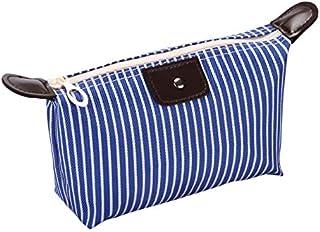TT WARE Striped Dumpling Women Cosmetic Bag Folding Travel Waterproof Makeup Wash Bag Storage Pouch-Blue