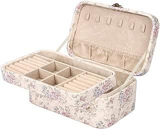 ジュエリーボックス 二層アクセサリーケース 大容量 小物入れ宝石箱 取っ手付き 王女ジュエリーボックス (ベージュ)
