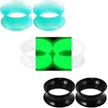 Longbeauty 3 Pairs Black/Luminous/Turquoise Thin Silicone Double Flared Flexible Tunnels Ear Skin Stretcher Plugs Gauges Kit Piercing