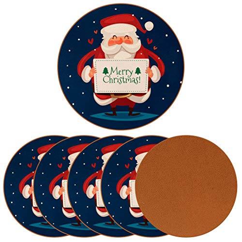 Paquete de 6 posavasos para bebidas, lindo Papá Noel con una tarjeta de deseo, taza de vacaciones, tapete para decoración de bar de inauguración de la casa
