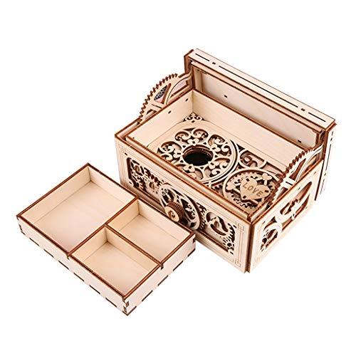 ZHJ Joyero de Madera mecánica Transmisión de música Modelo 3D DIY Asamblea Secreto del Cofre del Tesoro Caja de Caja de música Cajas de música
