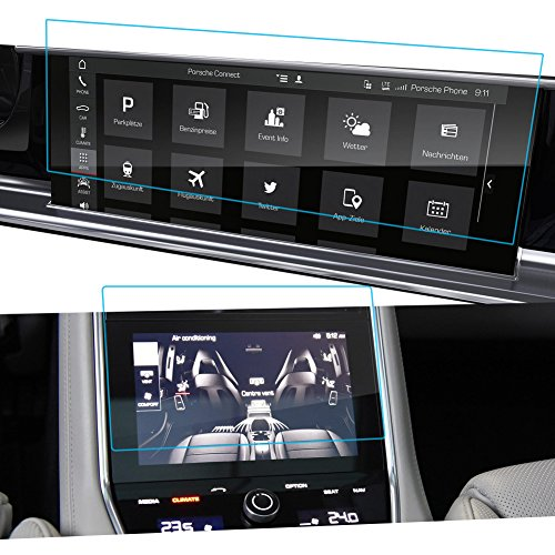 2PCS LFOTPP 2017 Porsche Panamera II 12.3 Inch PCM Videos Car Navigation and Rear Climate Control Monitor Screen Protector, Clear Tempered Glass Screen Protector Against Scratch High Clarity