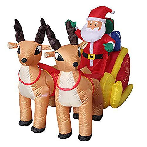 LIGHTOP Aufblasbarer Weihnachtsmann mit Schlitten Nikolaus Rentiere Weihnachten Santa Claus Deko LED Beleuchtet